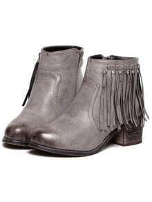 Grey Brush Round Toe Tassel Zipper Boots