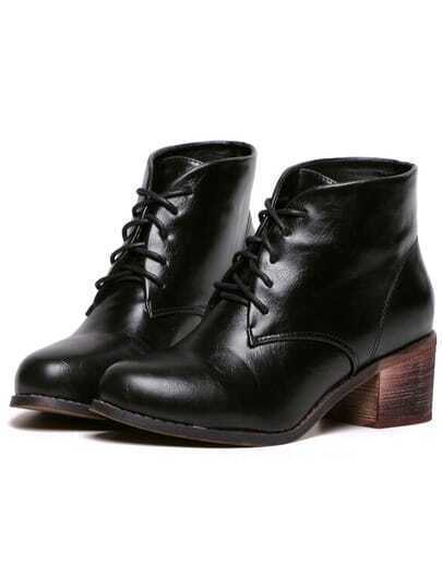 Black Lace Up PU Boots