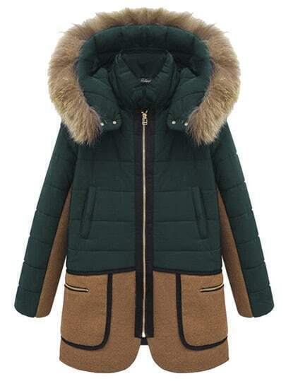 Hooded Faux Fur Zipper Pockets Color-block Coat