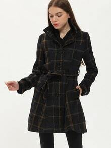 Stand Collar Plaid Buttons Belt Coat