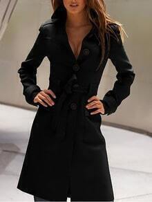 Lapel Buttons Belt Long Black Coat