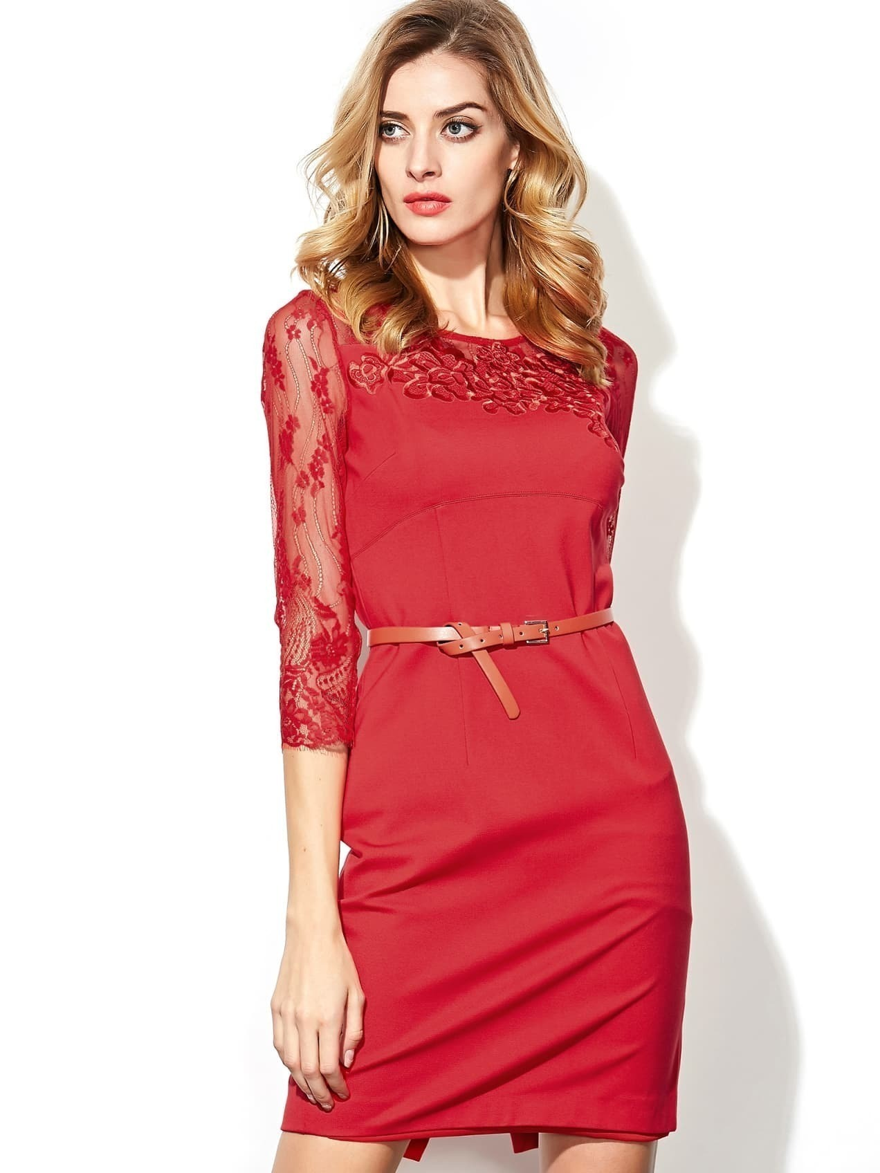 Red Round Neck Half Sleeve Contrast Gauze Drawstring Dress