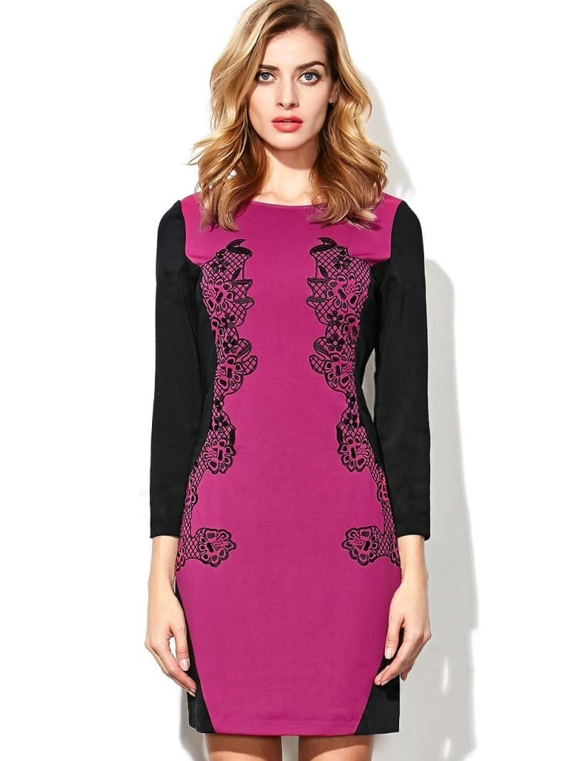 Purple Eggplant Round Neck Long Sleeve Embroidered Dress