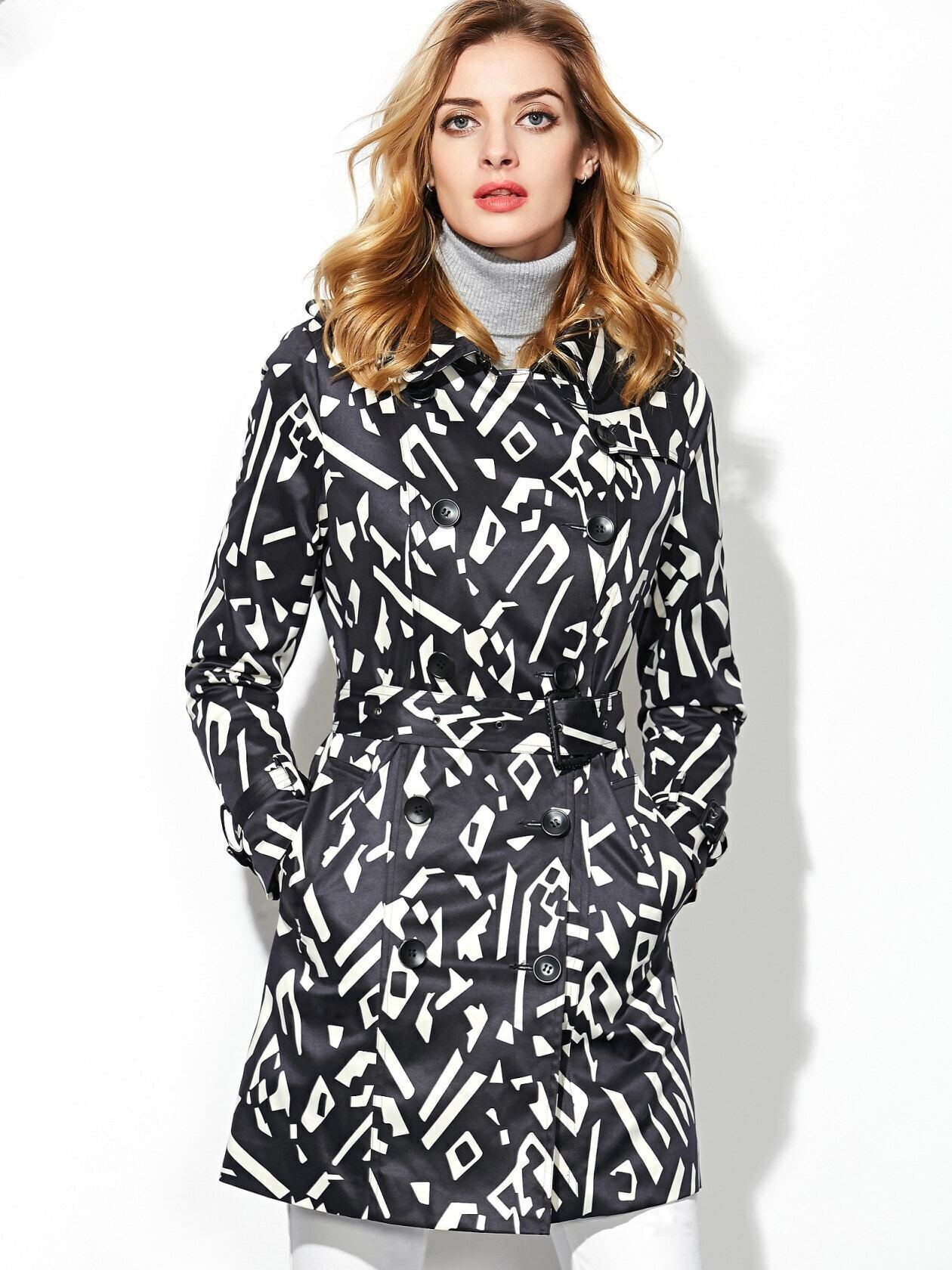 Black Lapel Long Sleeve Drawstring Pockets Print Coat