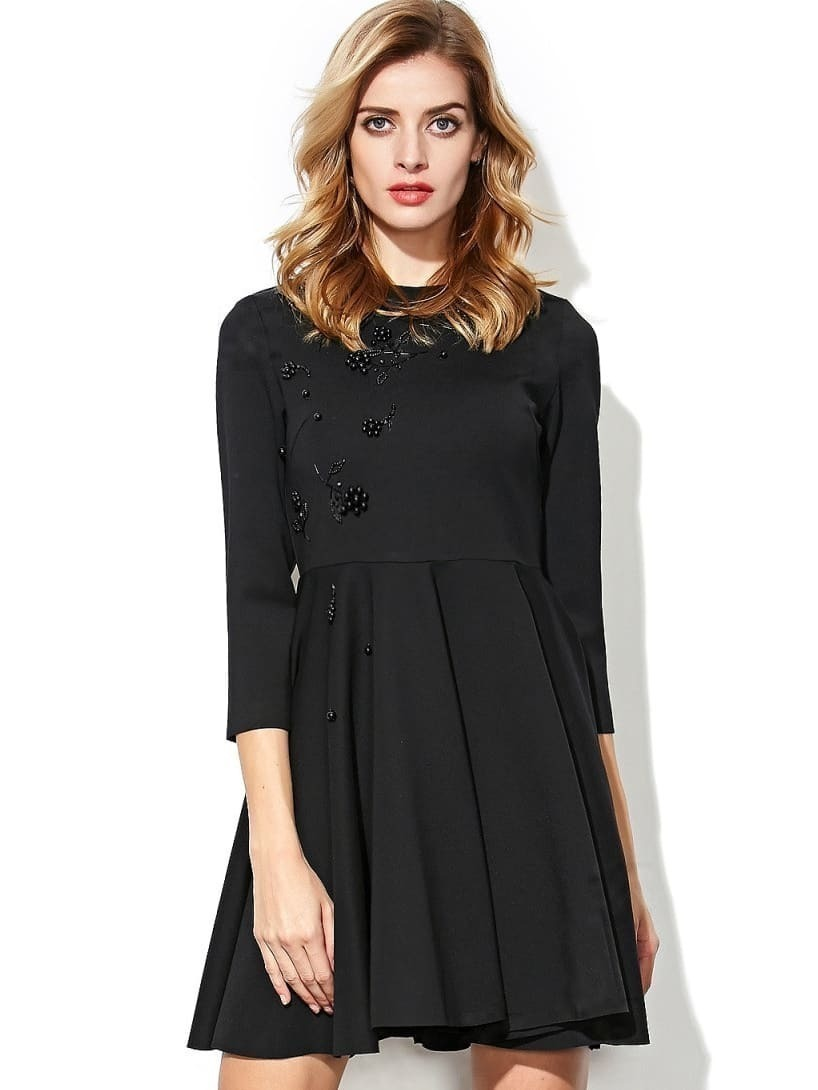 Black Round Neck Length Sleeve Beading Dress