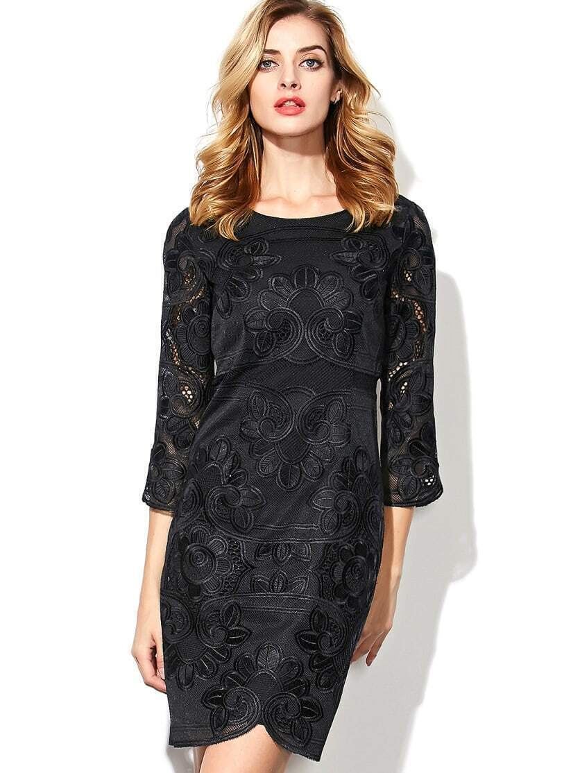 Black Round Neck Length Sleeve Embroidered Dress