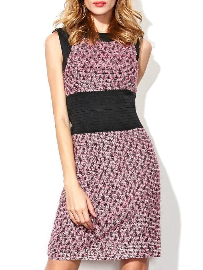 Purple Round Neck Sleeveless Bodycon Dress