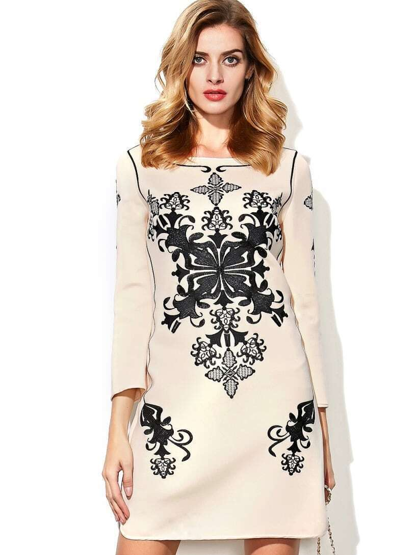 Apricot Round Neck Length Sleeve Embroidered Dress