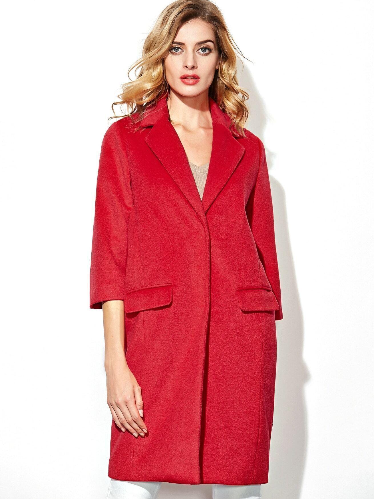 Red V Neck Length Sleeve Pockets Woolen Coat