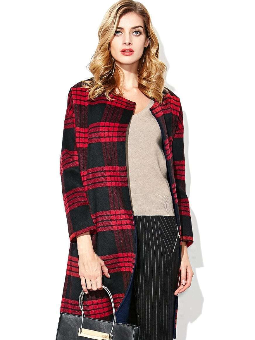 Multicolor Round Neck Long Sleeve Woolen Coat
