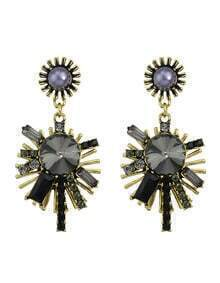 Black Vintage Style Rhinestone Snowflake Shape Women Hanging Stud Earrings