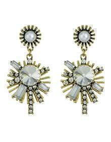 White Vintage Style Rhinestone Snowflake Shape Women Hanging Stud Earrings