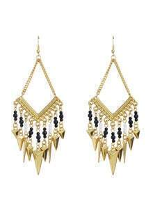 Gold Plated Spike Black Beads Earrings