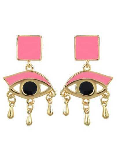 Pink Enamel Eye Shape Stud Earrings