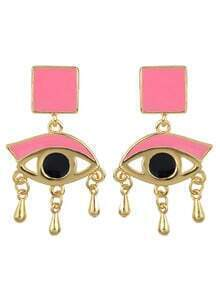 Pink Enamel Eye Shape Stud Earrings