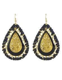 Black Enamel Braided Drop Earrings