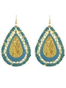 Blue Enamel Braided Rope Long Drop Earrings