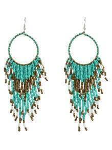 Bohemian Design Green Long Drop Small Beads Earrings