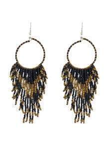 Bohemian Design Black Long Drop Small Beads Earrings