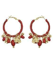 Red Hanging Beads Women Large Hoop Earrings