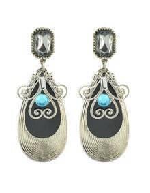 Latest Fashion Black Plated Long Drop Earrings for Women