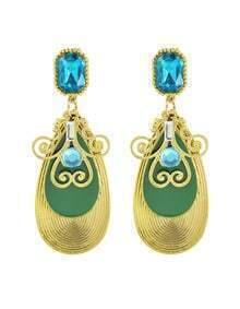 Latest Fashion Green Plated Long Drop Earrings for Women