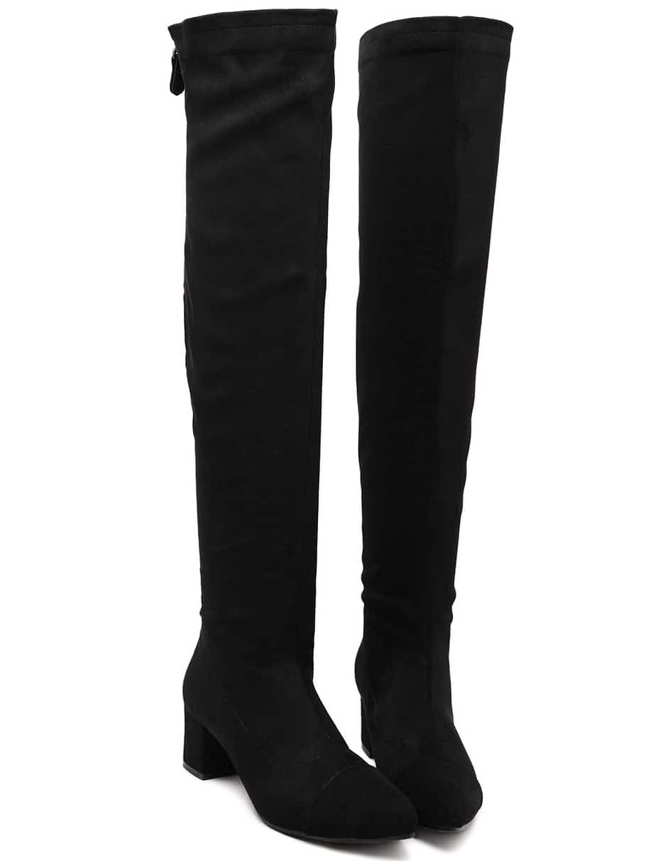 Black Over The Knee Zipper Boots -SheIn(Sheinside)