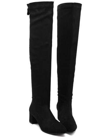 Black Over The Knee Zipper Boots