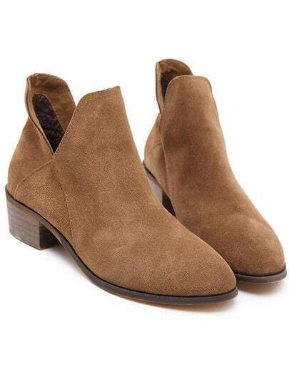 Brown Pointy Cutout Side Boots