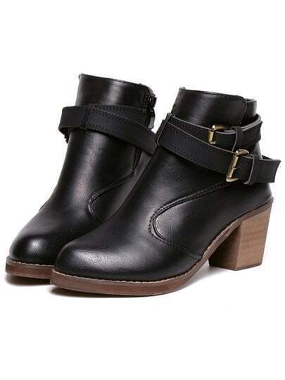 Black Pointy Buckle Strap Zipper PU Boots