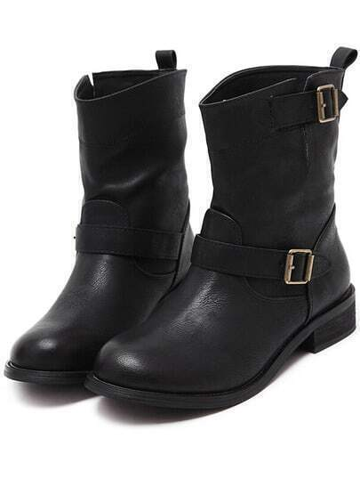 Black Round Toe Buckle Strap PU Boots