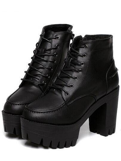 Black Lace Up Zipper PU Chunky Heels