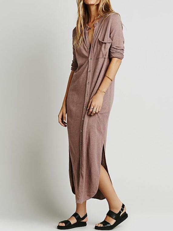 Pink Stand Collar Pocket Shirt Dress