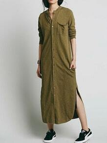 Olive Green Stand Collar Pocket Shirt Dress