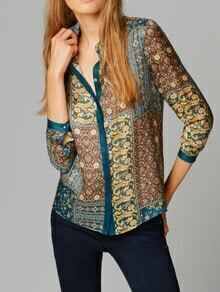 Multicolor Lapel Vintage Floral Blouse