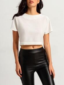 White Round Neck Knotted Split Back Blouse