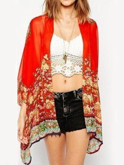 Red Vintage Floral Sheer Loose Kimono