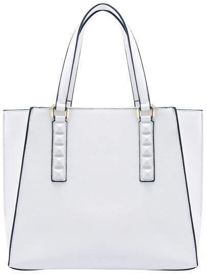 White Contrast Trims PU Tote Bag