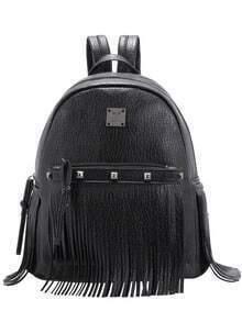 Black Metal Bead Tassel Backpack