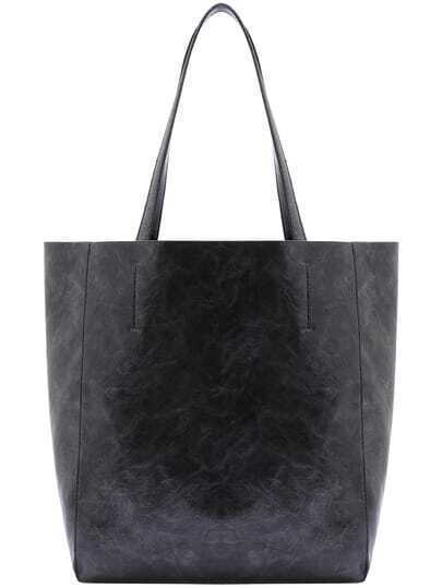 Black Two Pieces PU Shoulder Bag