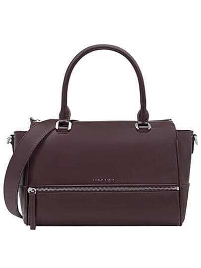 Red Zipper PU Tote Bag