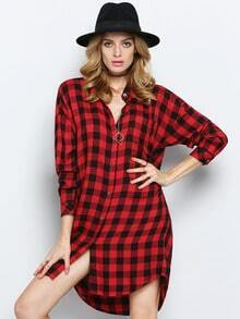 Red Black Lapel Plaid Blouse