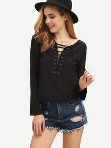 Black Long Sleeve V Back Blouse