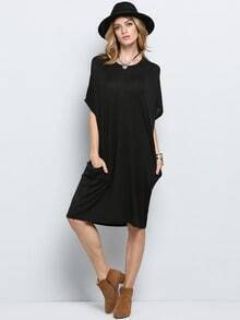 Black Short Sleeve Pockets Dress