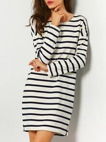 White Blue Round Neck Striped Dress