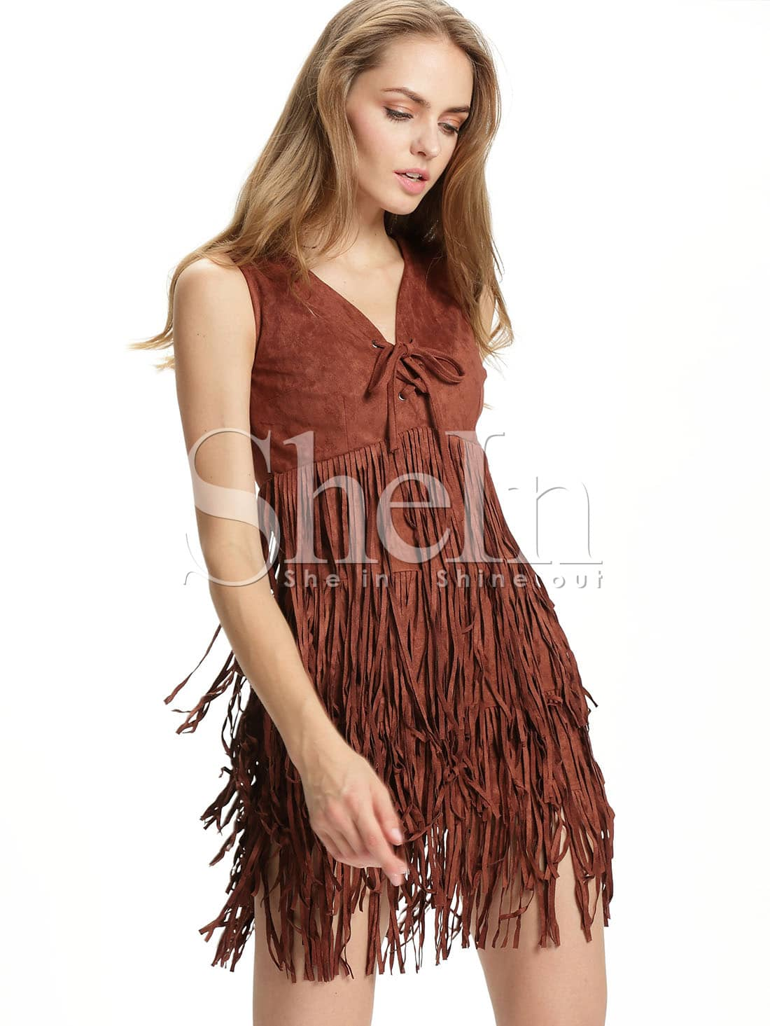 robe en daim col v sans manche avec frange marron french shein sheinside. Black Bedroom Furniture Sets. Home Design Ideas