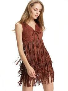 Brown Sleeveless V Neck Tassel Dress