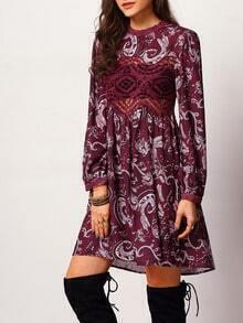 Purple Long Sleeve Vintage Print Dress