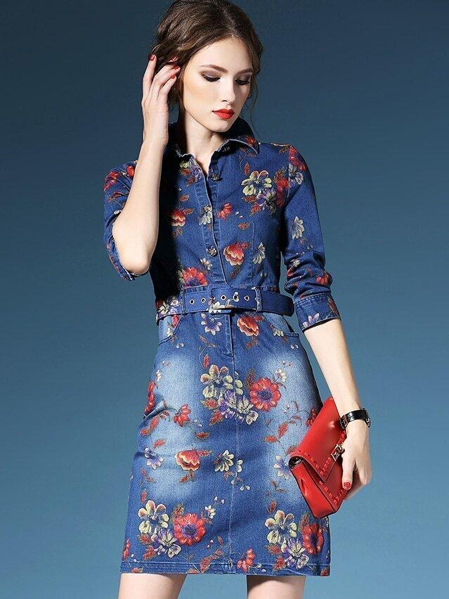 Blue Lapel Half Sleeve Drawstring Pockets Print Denim Dress