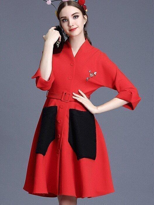 Red V Neck Length Sleeve Drawstring Pockets Coat
